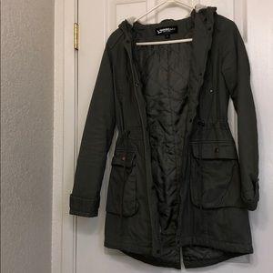Army green parka jacket